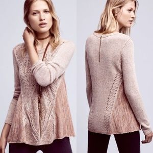 Anthropologie Anita Mix Cable Knit Swing Sweater S